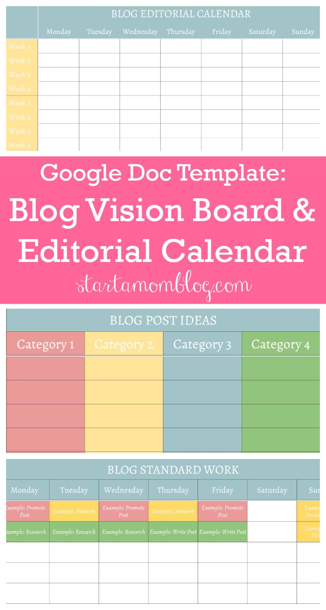 Google Doc Template for a blog vision board and editorial calendar