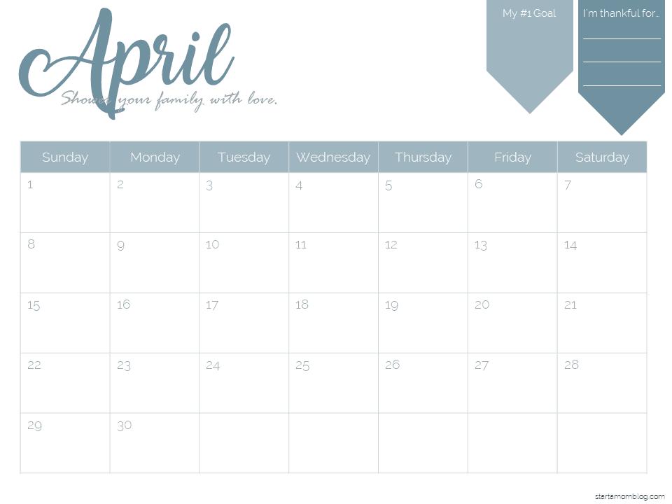 2018 Calendar Template Free Printable Start A Mom Blog