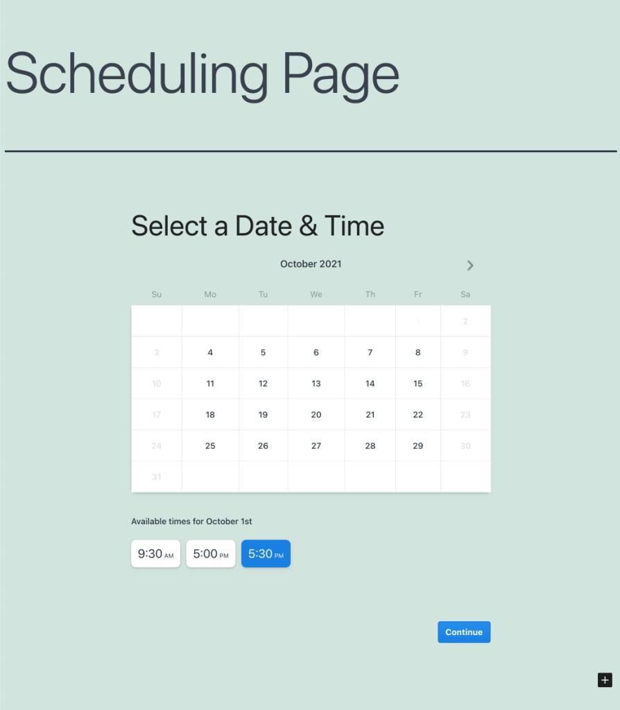 View scheduling block for WordPress