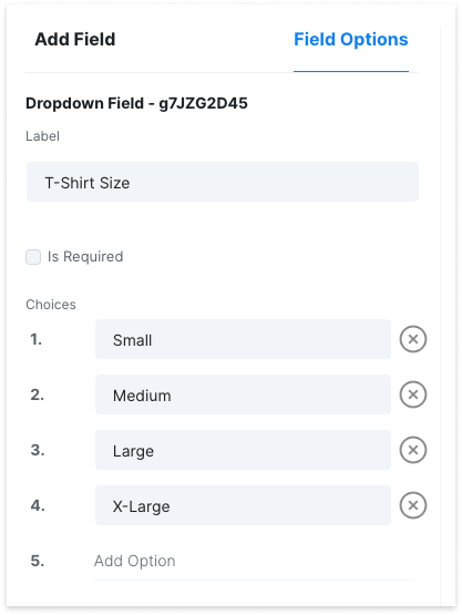 Start Booking - Custom Form Field Options