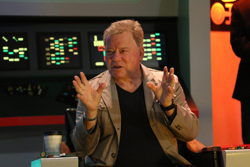 William Shatner on the Enterprise Bridge