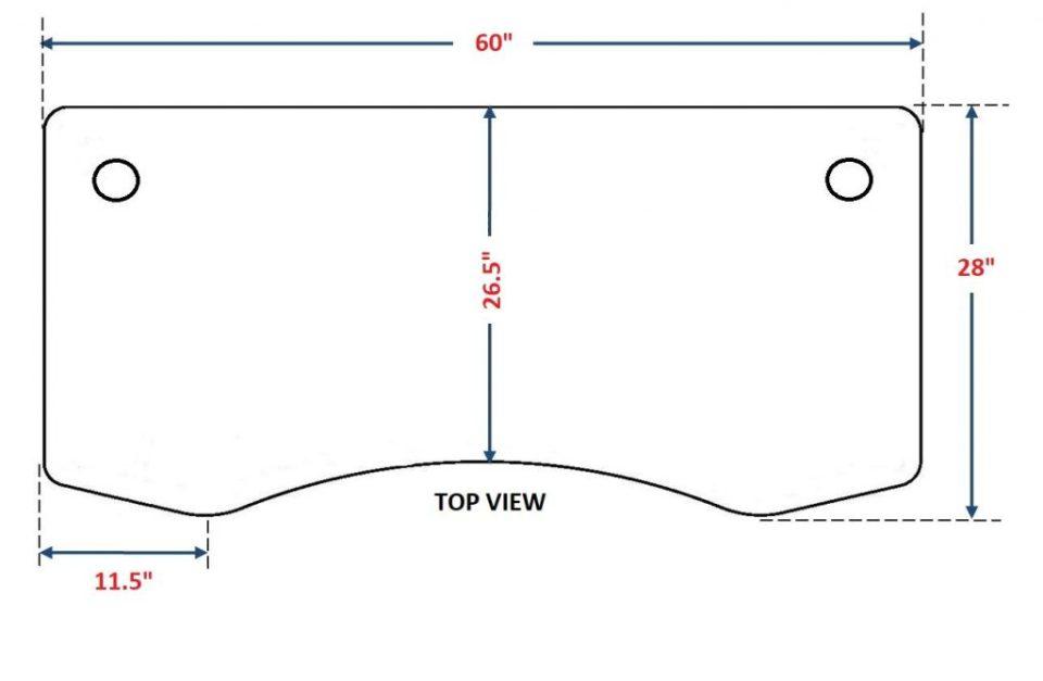 "ApexDesk Elite Standing Desk - 70"" Top Dimensions"