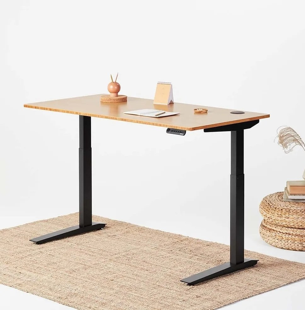Fully Jarvis Standing Desk - Bamboo Top with Black Frame