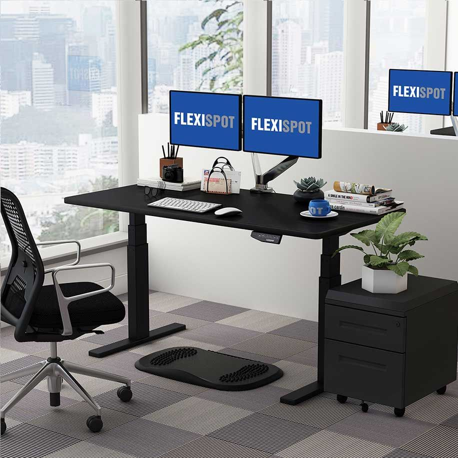 Flexispot Sanodesk Standing Desk Black Frame and Black Top lowered
