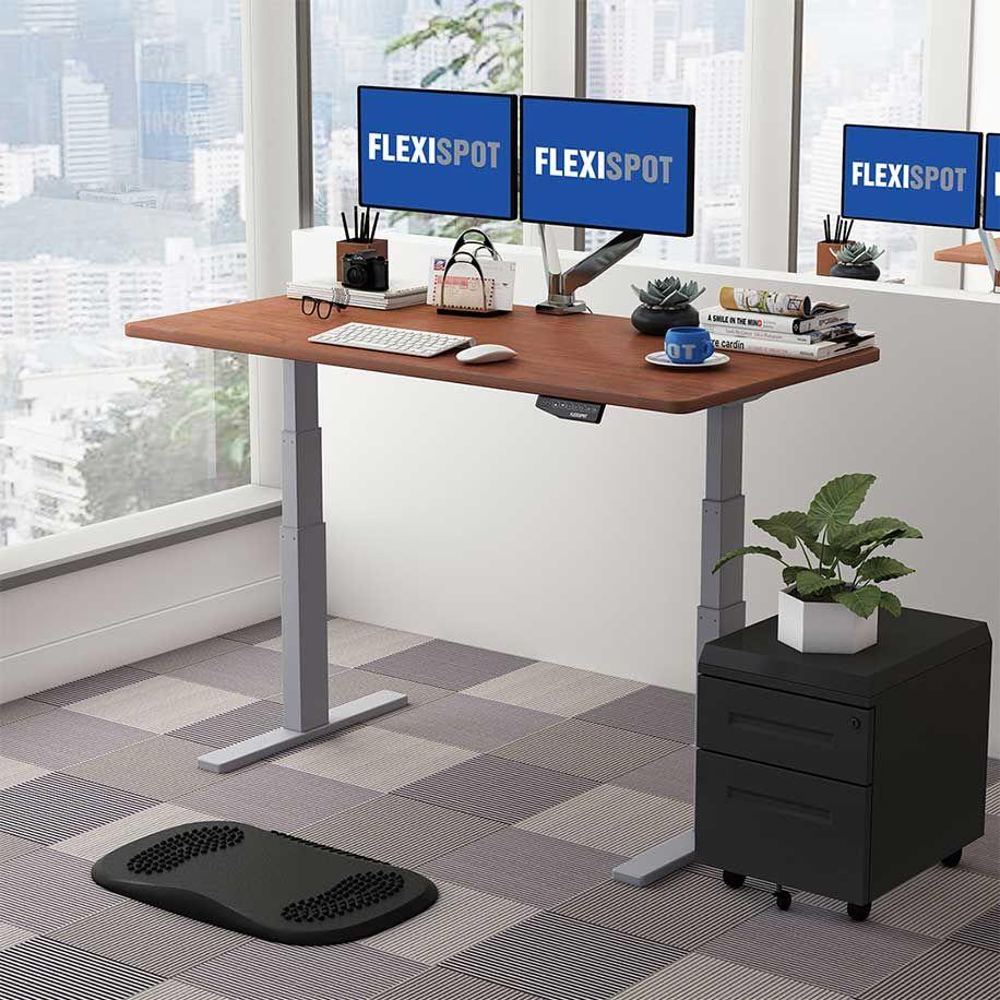 Flexispot Sanodesk Standing Desk - Grey Frame with Mahogany Top