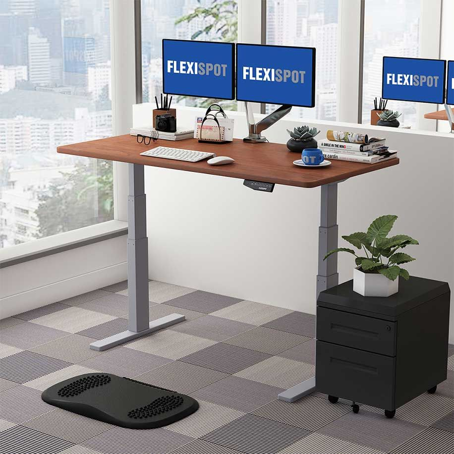 Flexispot Sanodesk Standing Desk - Grey Frame with Mahogany Top