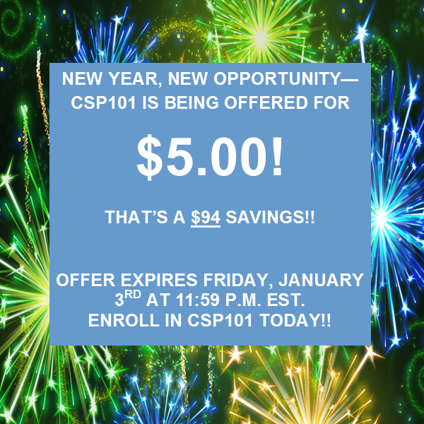 CSP 101 sales ends January 3rd