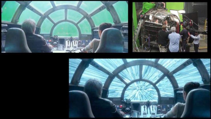 Han en Rey in de cockpit van de Millennium Falcon