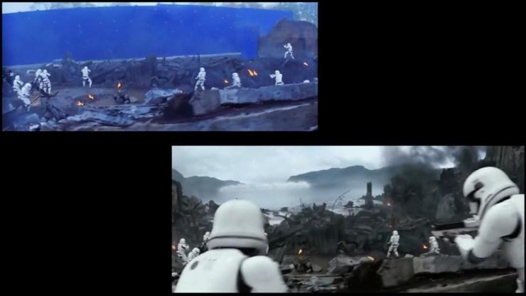 First Order Stormtroopers in de verdediging tegen de Resistance X-Wings