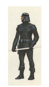 De uniformen van de bovenstaande mannen hebben heel veel weg van een oud Ralph McQuarrie concept voor een Imperial Guard.