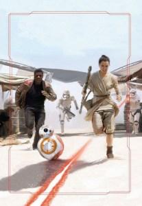 Finn, Rey en BB-8 op de vlucht voor Stormtroopers - door Brian Rood
