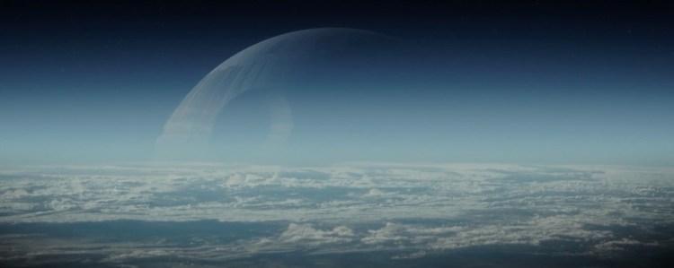 Waarna we dit prachtige shot krijgen van de Death Star, gezien vanuit de atmosfeer van een planeet.