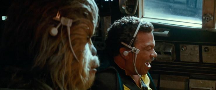 Dan weer een shot van Lando en Chewie in de cockpit van de Millennium Falcon.