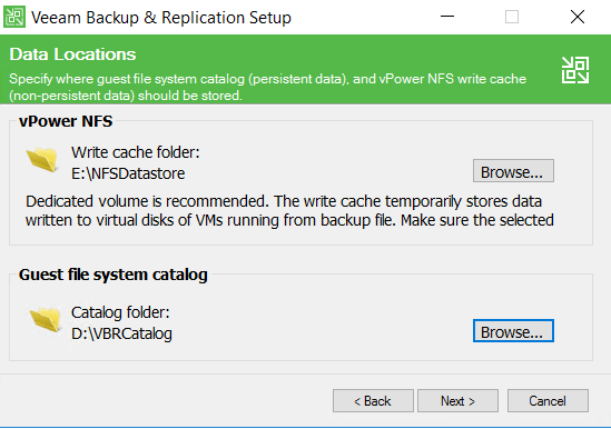 Veeam Backup and Replication setup Data Location