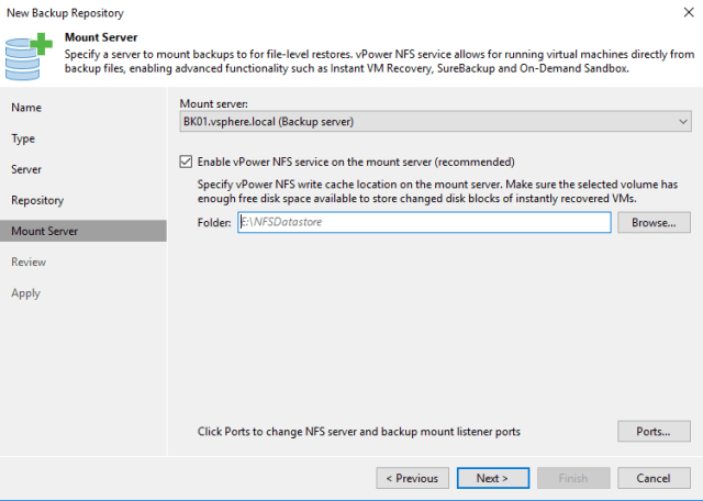 New backup Repository Mount Server
