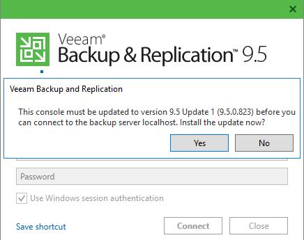 Veeam Backup & Replication 9.5 installation updates view