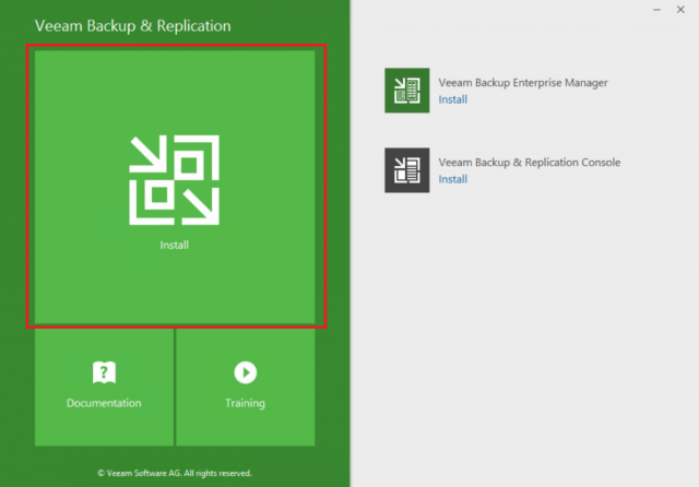 Veeam Backup and Replication Install view