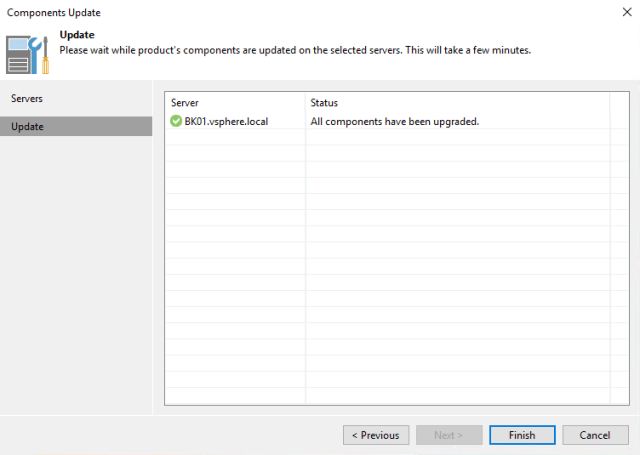 Veeam Backup & Replication 9.5 server components update view