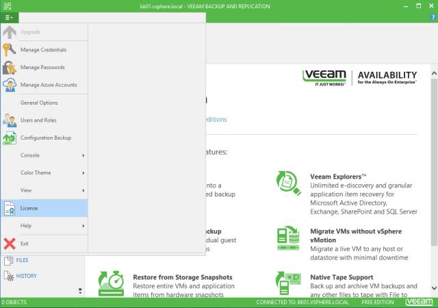 Veeam Backup & Replication 9.5 license installation