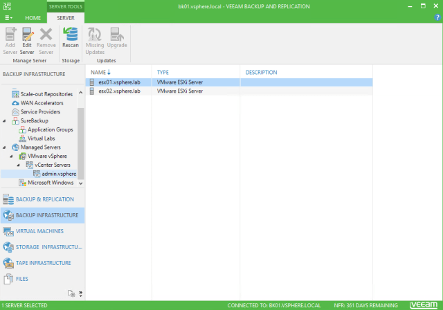 Veeam Backup and Replication managed servers
