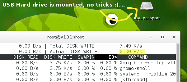 Zero disk read & write usage after re-formatting with 'lazyinit' disabled (Fedora 21, Gnome)