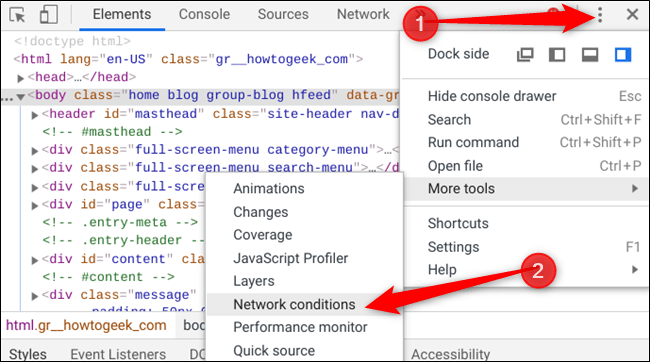 """Click the menu icon, select """"More Tools,"""" and then click """"Network Conditions."""""""