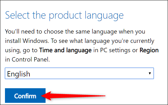 "Select a language, and then click ""Confirm."""