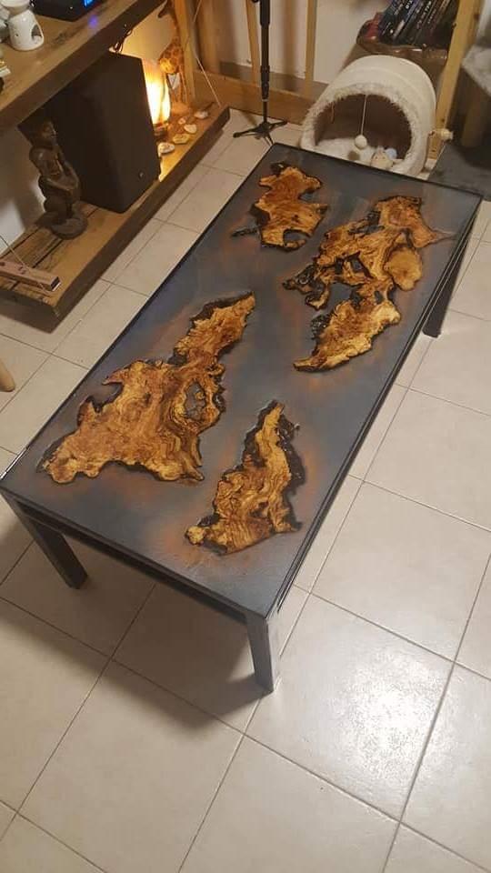 שולחן 3d תלת מימד, בשילוב אפוקסי עץ זית