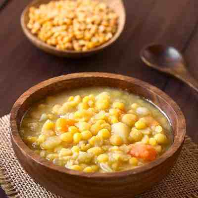 Budget friendly yellow pea soup for colder nights.