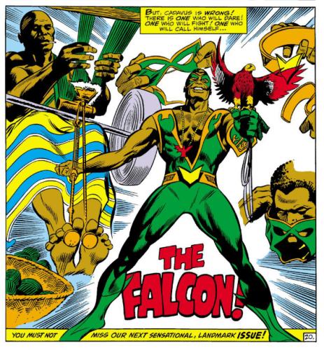 Falcon wears the costume