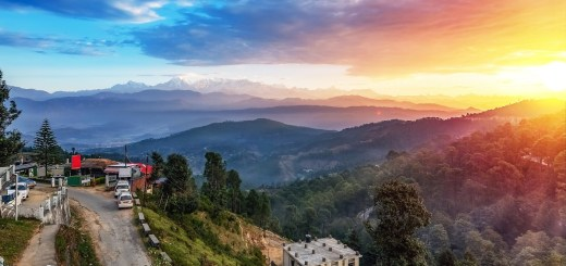 Scenic sunrise at Kausani Uttarakhand with view of Garhwal Himalaya range and adjoining mountain valley