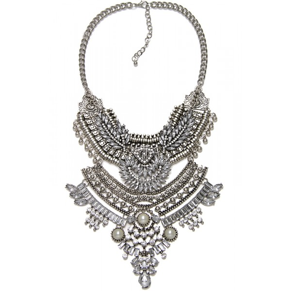 Art Deco Crystal Embellished Western Silver Boho Edgy Statement Necklace