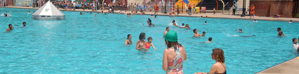 Swimmers enjoy sunny day in Red Hook Pool