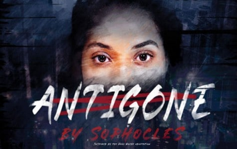a poster of a woman's eyes and text that reads Antigone by Sophocles
