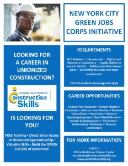 Construction Skills is currently recruiting for Green Jobs Corps