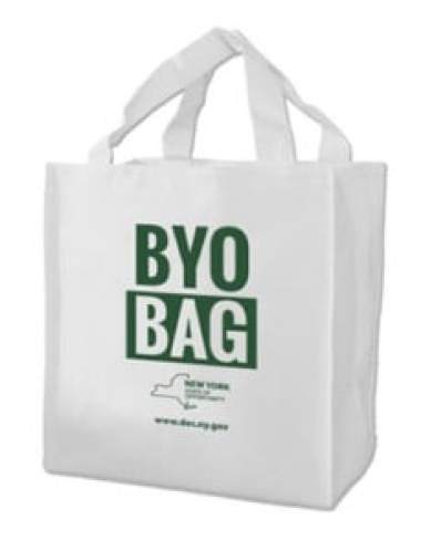 White Shopping Bag with Green Type saying BYO Bag with the DEC logo