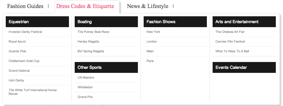 whatbesttowear.com site navigation example