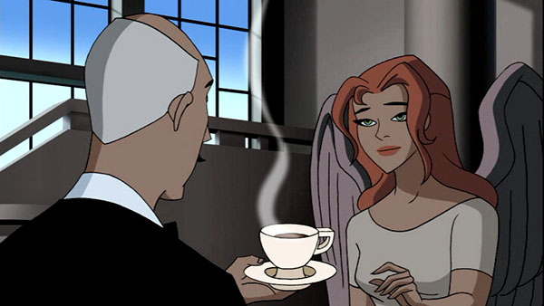 a screen cap of Alfred Pennyworth offering Shayera Hol a cup of tea