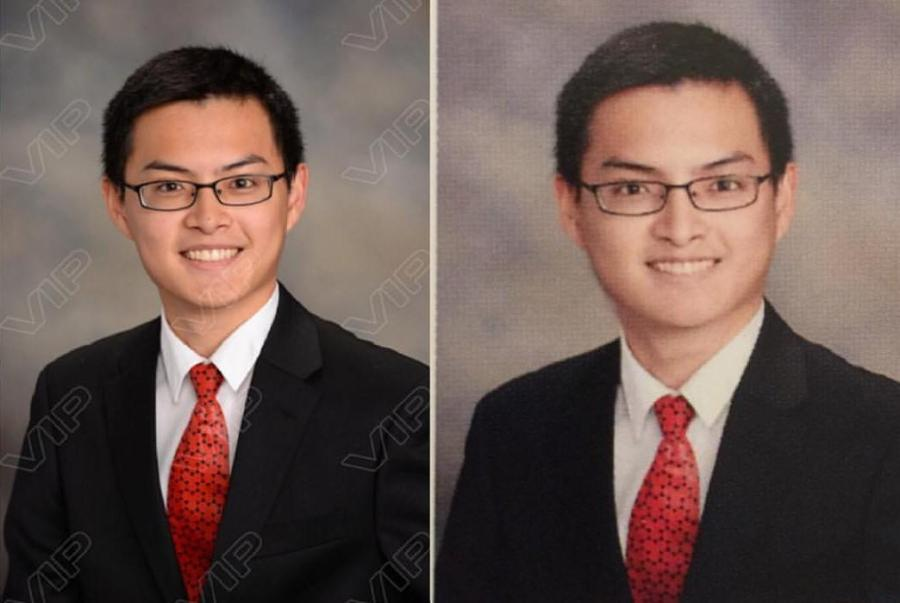 Many+have+expressed+frustration+at+the+stark+differences+between+the+unmodified+senior+portraits+%28left%29+and+the+edited+yearbook+photos+%28right%29.+The+student+pictured+above+is+Joey+Hong%2C+whose+photo+was+the+cause+for+an+online+petition+against+student+photoshopping.+