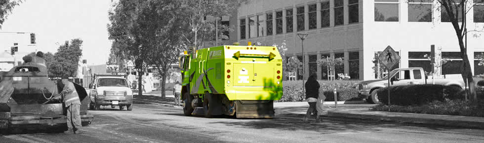 construction sweeper cleaning road debris, statewide sweeping.