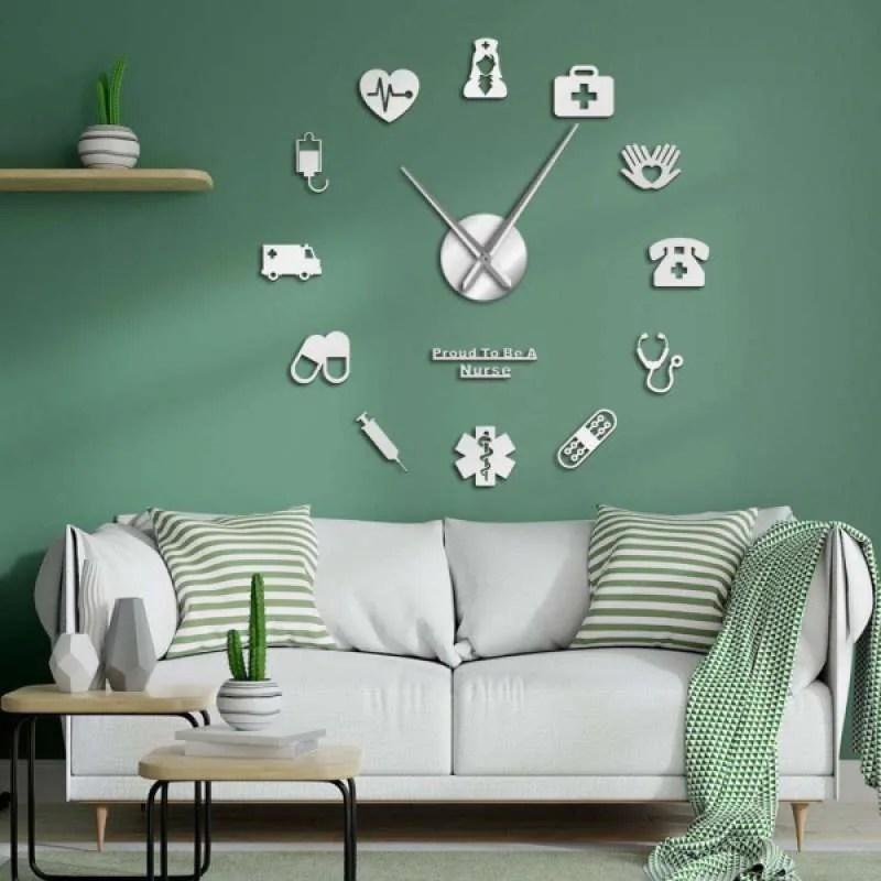 Jual Modern Diy Large Wall Clock 3d Mirror Sticker Home Decor Wall Art Nurse Theme Online September 2020 Blibli Com