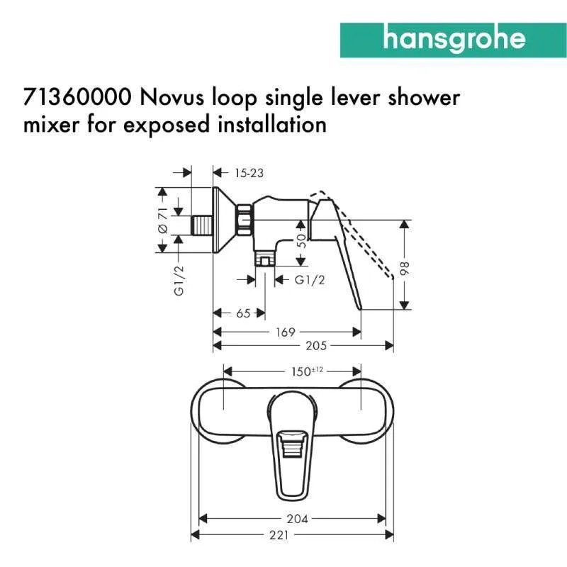 hansgrohe novus loop single lever shower mixer for exposed 71360000
