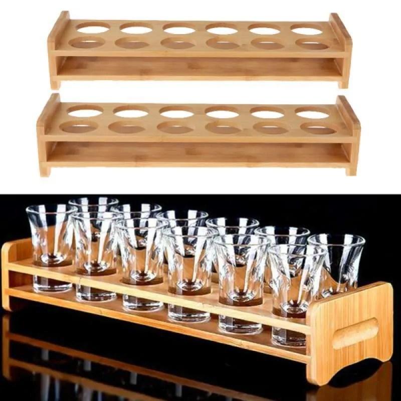 oem bamboo shot glass holder cocktail sambuca tankard rack 2x 7 12 holes random