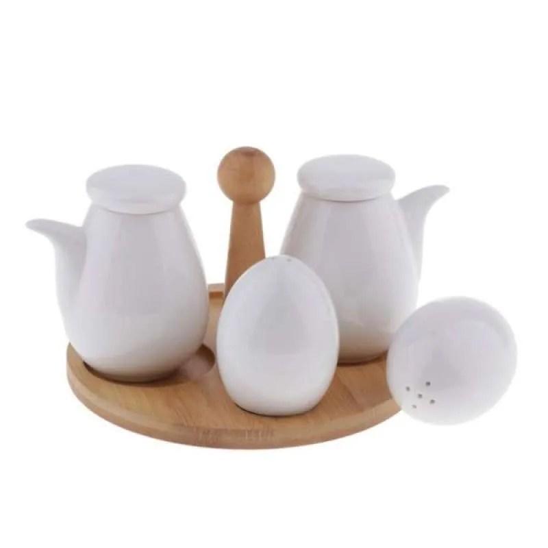 Jual 5pcs Porcelain Oil Vinegar Salt Pepper Cruet Set With Tray Spice Jars White Online Oktober 2020 Blibli Com