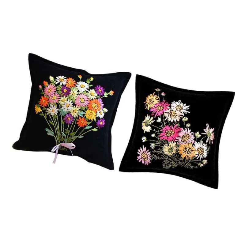 2x flower latch hook kits for kids beginners ribbon embroidery kits for pillow cover pillowcase 45 x 45 cm