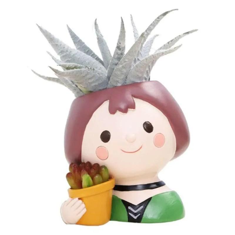 Jual Cute Girls Flower Pot Succulent Cactus Plant Pots Bonsai Planter For Home Office Online Oktober 2020 Blibli Com
