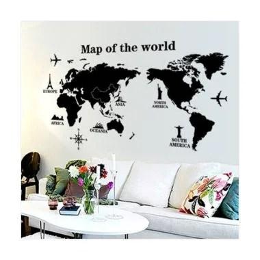 OEM Map of The World Wall Sticker Dekorasi Dinding