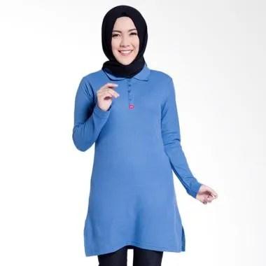 Dauky Long Polo Shirt Atasan Muslim Wanita - Blue 507