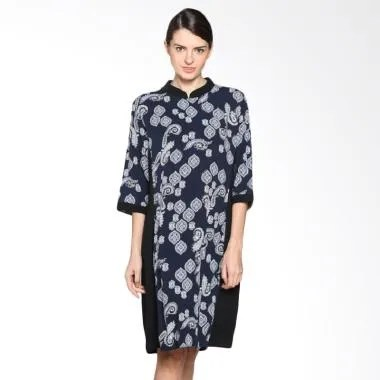 Fafa Collection 002 Deasy Pendek Dress Batik Wanita - Navy