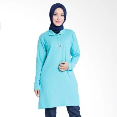 Dauky Long Polo Shirt Atasan Muslim Wanita - Light Blue 534